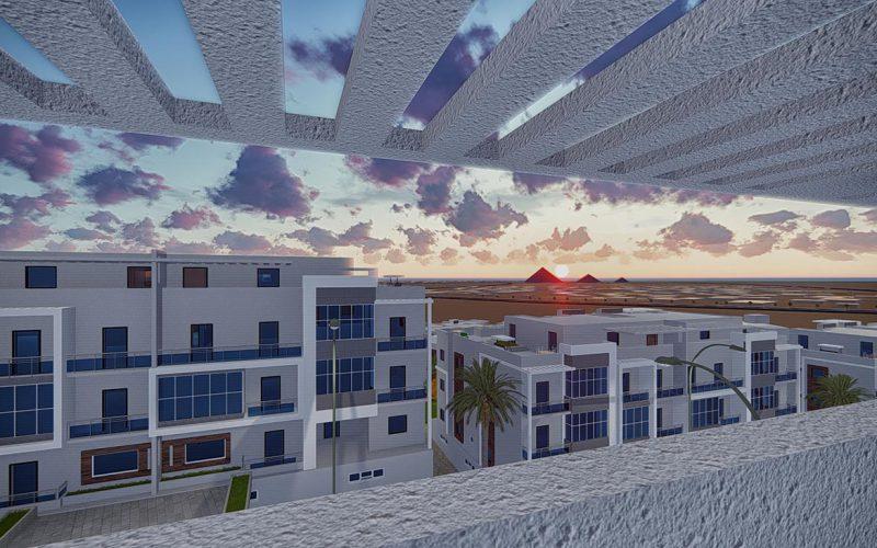Dar El Mona pyramids view