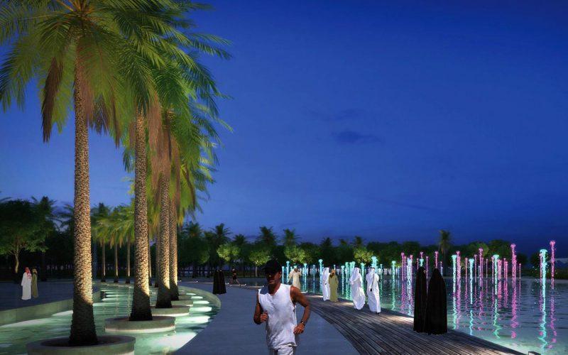 Rawdat Al Khail Park night fountain